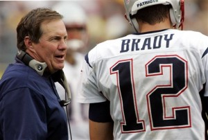 New England Patriots head coach and defacto GM Bill Belichick with quarterback Tom Brady.