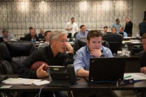 "Seattle Seahawks coach Pete Carroll and GM John Schneider  working together in the Seahawks ""war room."" Source Q13fox.com."